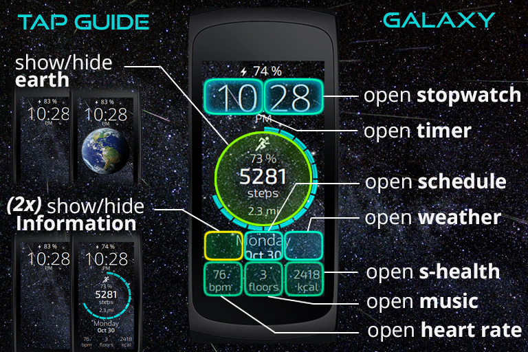 tap guide for galaxy watchface